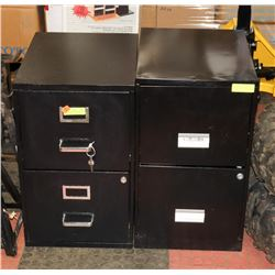 2-  TWO DRAWER FILING CABINETS, ONE WITH KEYS