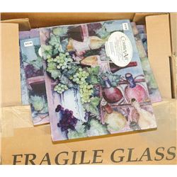 BOX OF ASSORTED GLASS CUTTING BOARDS-SIZES AND