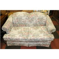 "NEWLY RECOVERED FLORAL 59"" LOVESEAT"