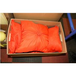 FILE BOX WITH 3 SHOWHOME ACCENT PILLOWS - 2 ARE