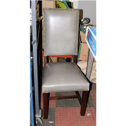 GREY LEATHERETTE SIDE CHAIR