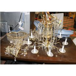 LOT OF ASSORTED BRASS AND CRYSTAL CHANDELIERS