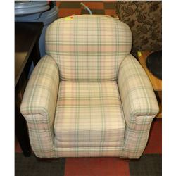 NEWLY RECOVERED LARGE LIGHT PLAID ARM CHAIR