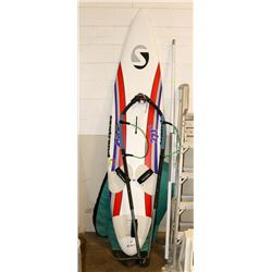 STAND UP PADDLE BOARD, MISSING FIN AND PADDLE.