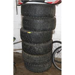 LOT OF 6 JEEP MUD TIRES ON RIMS 235/70R15.
