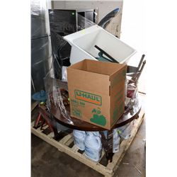 PALLET OF UNCLAIMED MERCHANDISE W/OFFICE CHAIR