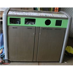 LOT OF 3 METAL 4 COMPARTMENT COMMERCIAL WASTE BIN
