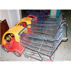 THREE CAR SHOPPING CARTS