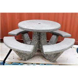 DAMAGED CONCRETE PICNIC TABLE AS IS