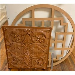 Intricately Carved Hardwood Panel & Pierced Oriental MDF Design Panel