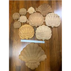 Wood Shell Carvings: 11 Shell Carvings, Various Sizes from Various Woods