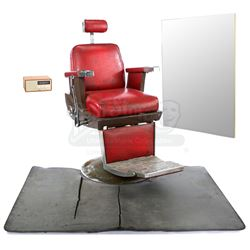 Lot # 455: Pop's Barber Shop Chair and Accessories
