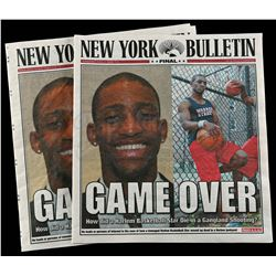 Lot # 472: Two 'Game Over' New York Bulletin Newspaper Covers