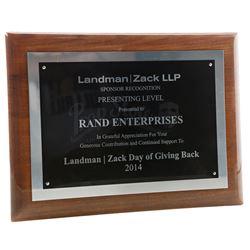 Lot # 746: Landman and Zack Sponsor Recognition Plaque
