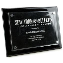 Lot # 747: New York Bulletin Philanthropy Award