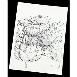 Lot # 834: Mary Walker's Flower Drawing