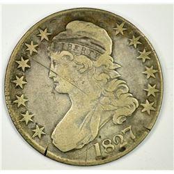1827 BUST HALF DOLLAR, VF scratch obv