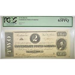 1864 $2 CSA T-70  PCGS 63 PPQ