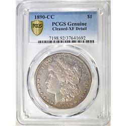 1890-CC MORGAN DOLLAR  PCGS GENUINE CLEANED-XF DET