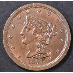 1857 HALF CENT  CH BU RB