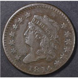 1814 LARGE CENT XF
