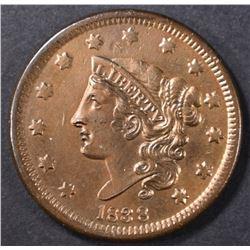 1838 LARGE CENT AU MARK ON OBV