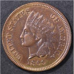 1869 INDIAN CENT AU/BU