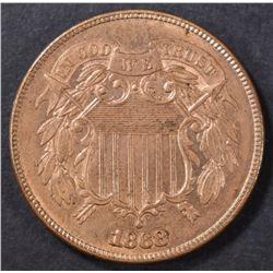 1868 2 CENT PIECE CH BU RB