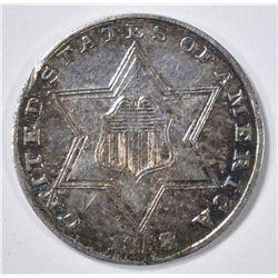 1858 3 CENT SILVER  AU