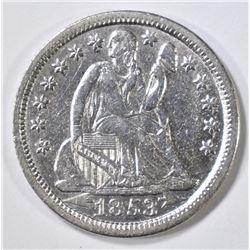 1853 ARROWS SEATED LIBERTY DIME  AU