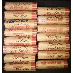 15-ROLLS MIXED DATE CIRC LINCOLN CENTS 1920-29