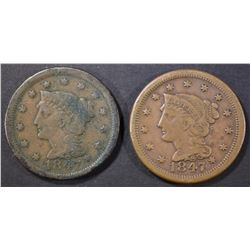 2-1847 LARGE CENTS, 1-F/VF & 1-XF