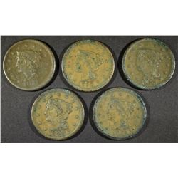 (5) VF LARGE CENT  VARIOUS DATES