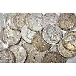 20-CIRC MIXED DATE FRANKLIN HALF DOLLARS