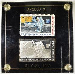 1969 APOLLO XI U.S. STAMP & SILVER REPLICA BAR