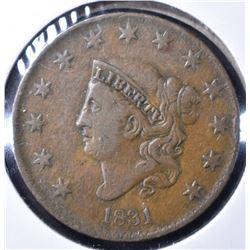1831 MATRON HEAD LARGE CENT VF+