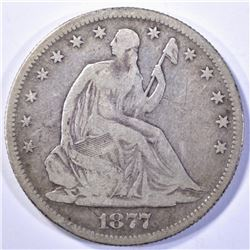 1877-S SEATED HALF DOLLAR, VG/FINE