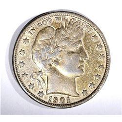 1901-S BARBER HALF DOLLAR, VF/XF KEY COIN