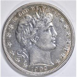 1902 BARBER HALF DOLLAR, AU+