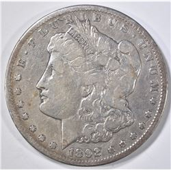 1892-CC MORGAN DOLLAR, VG/FINE