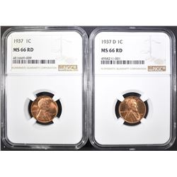 1937-P&D LINCOLN CENTS, NGC MS-66 RED