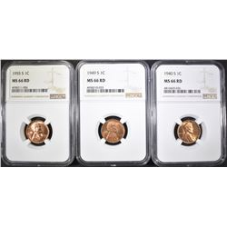 1940-S, 49-S & 55-S LINCOLN CENTS, NGC MS-66 RED