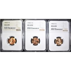 1955-S, 58-D & 59-D LINCOLN CENTS, NGC MS-66 RED