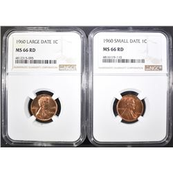 1960 SD & 60 LD LINCOLN CENTS, NGC MS-66 RED