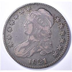 1821 BUST HALF DOLLAR, XF
