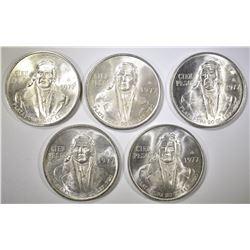 5-BU 1977 MEXICO SILVER 100-PESO COINS