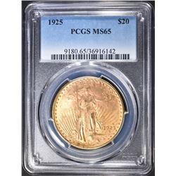 1925 $20.00 SAINT GAUDENS GOLD, PCGS MS-65