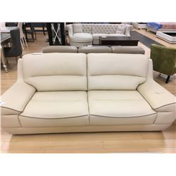 CREAM LEATHER MODERN STYLE 2 SEAT SOFA & ARM CHAIR