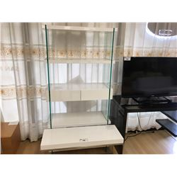 MODERN WHITE & GLASS 5 TIER 2 DRAWER BOOKCASE & HALL TABLE