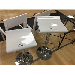 2 MODERN WHITE GAS LIFT BAR STOOLS